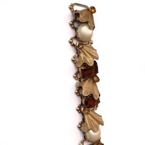 Vintage faux pearl  amber colored glass bracelet